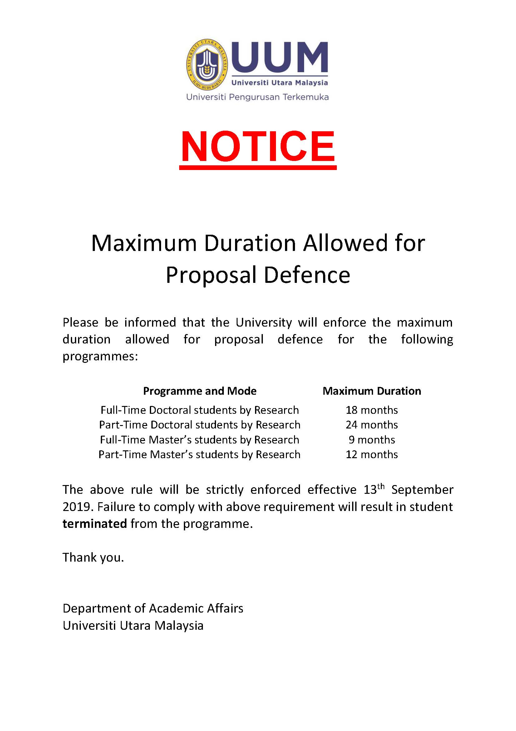 Maximum Duration Allowed for Proposal Defence