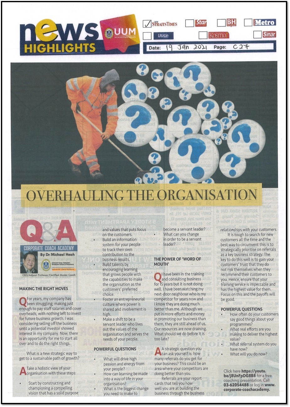 NEWS HIGHLIGHTS: OVERHAULING THE ORGANISATION